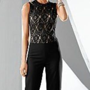 Lace Top Jumpsuit | Black
